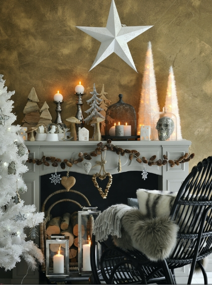 decoration de noel pour cheminee. Black Bedroom Furniture Sets. Home Design Ideas